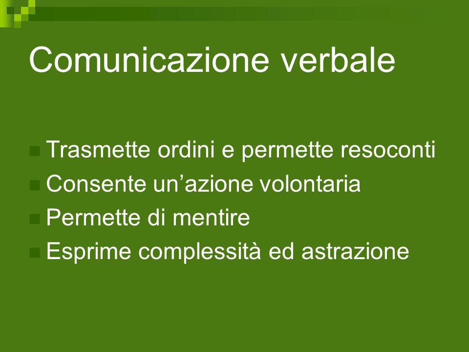 Comunicazione verbale Trasmette ordini e permette resoconti Consente un'azione volontaria Permette di mentire Esprime complessità ed astrazione