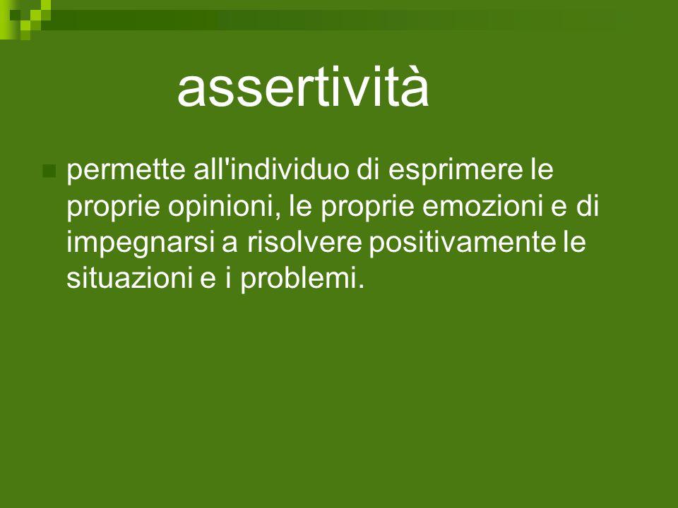 assertività permette all'individuo di esprimere le proprie opinioni, le proprie emozioni e di impegnarsi a risolvere positivamente le situazioni e i p
