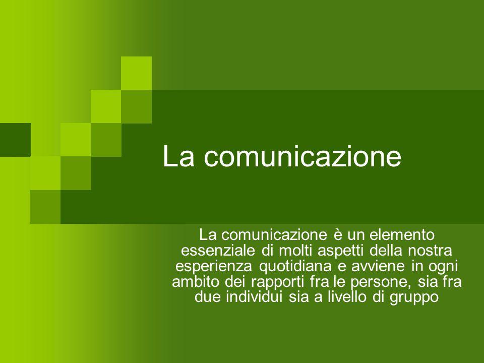 La comunicazione La comunicazione è un elemento essenziale di molti aspetti della nostra esperienza quotidiana e avviene in ogni ambito dei rapporti f