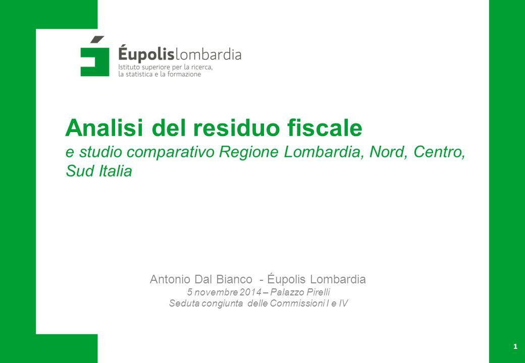 12 Entrate, spese e residuo fiscale   Valori pro-capite in euro, media 2009-2012