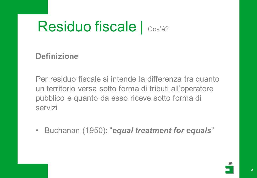 Definizione Per residuo fiscale si intende la differenza tra quanto un territorio versa sotto forma di tributi all'operatore pubblico e quanto da esso riceve sotto forma di servizi Buchanan (1950): equal treatment for equals 3 Residuo fiscale | Cos'é?