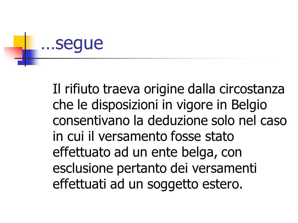 …segue Il rifiuto traeva origine dalla circostanza che le disposizioni in vigore in Belgio consentivano la deduzione solo nel caso in cui il versament