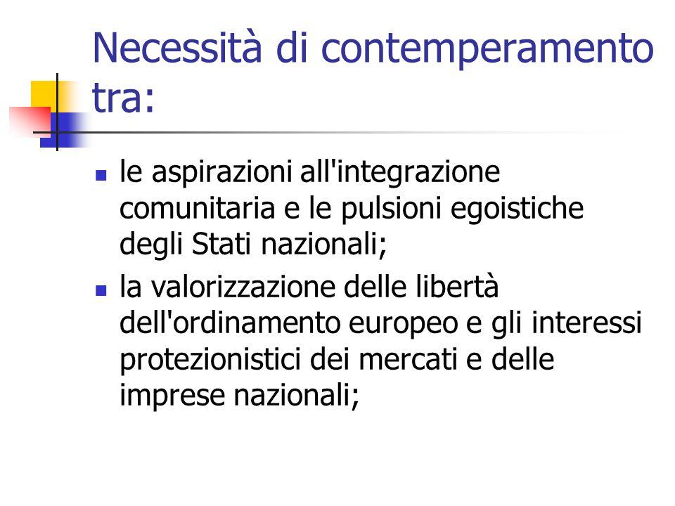 Necessità di contemperamento tra: le aspirazioni all'integrazione comunitaria e le pulsioni egoistiche degli Stati nazionali; la valorizzazione delle