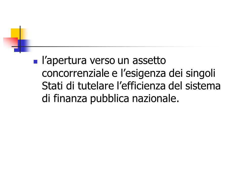 l'apertura verso un assetto concorrenziale e l'esigenza dei singoli Stati di tutelare l'efficienza del sistema di finanza pubblica nazionale.