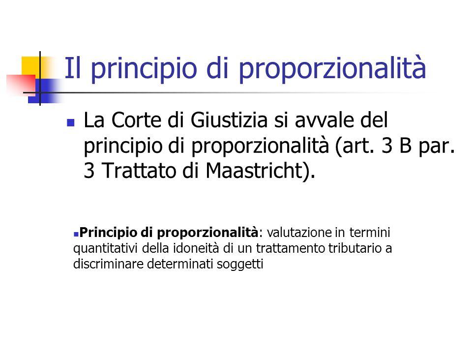 Il principio di proporzionalità La Corte di Giustizia si avvale del principio di proporzionalità (art. 3 B par. 3 Trattato di Maastricht). Principio d