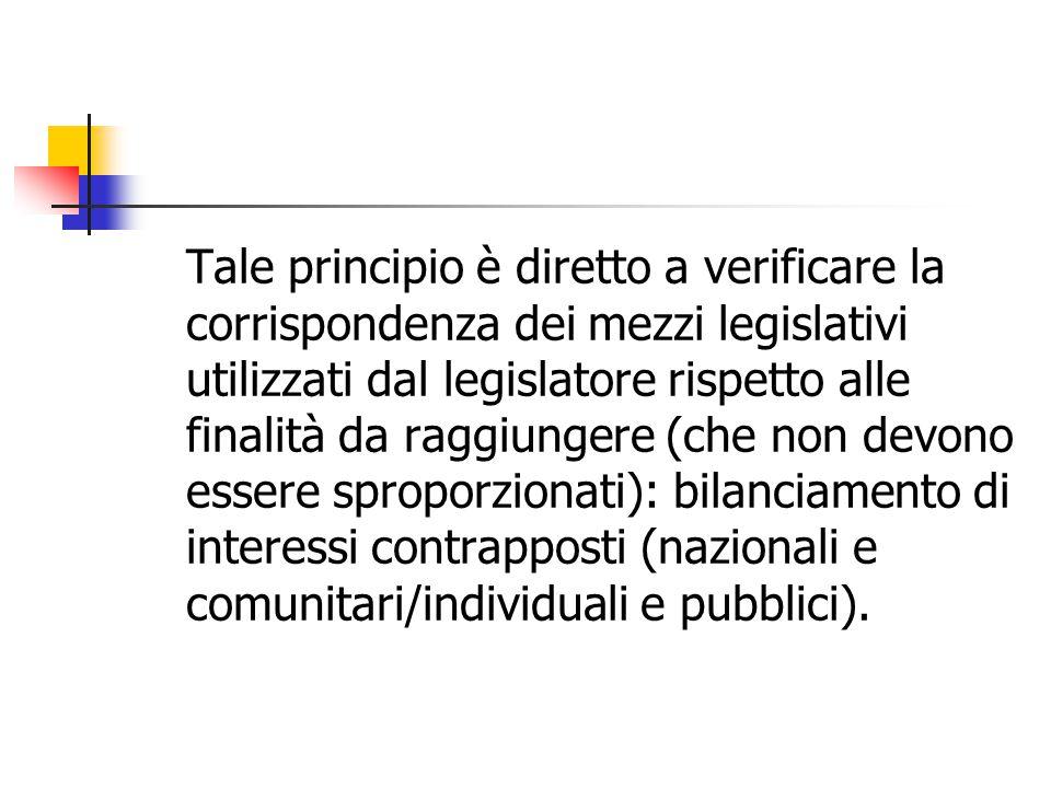 Tale principio è diretto a verificare la corrispondenza dei mezzi legislativi utilizzati dal legislatore rispetto alle finalità da raggiungere (che no