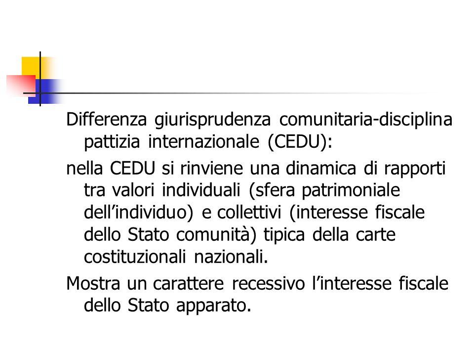 Differenza giurisprudenza comunitaria-disciplina pattizia internazionale (CEDU): nella CEDU si rinviene una dinamica di rapporti tra valori individual