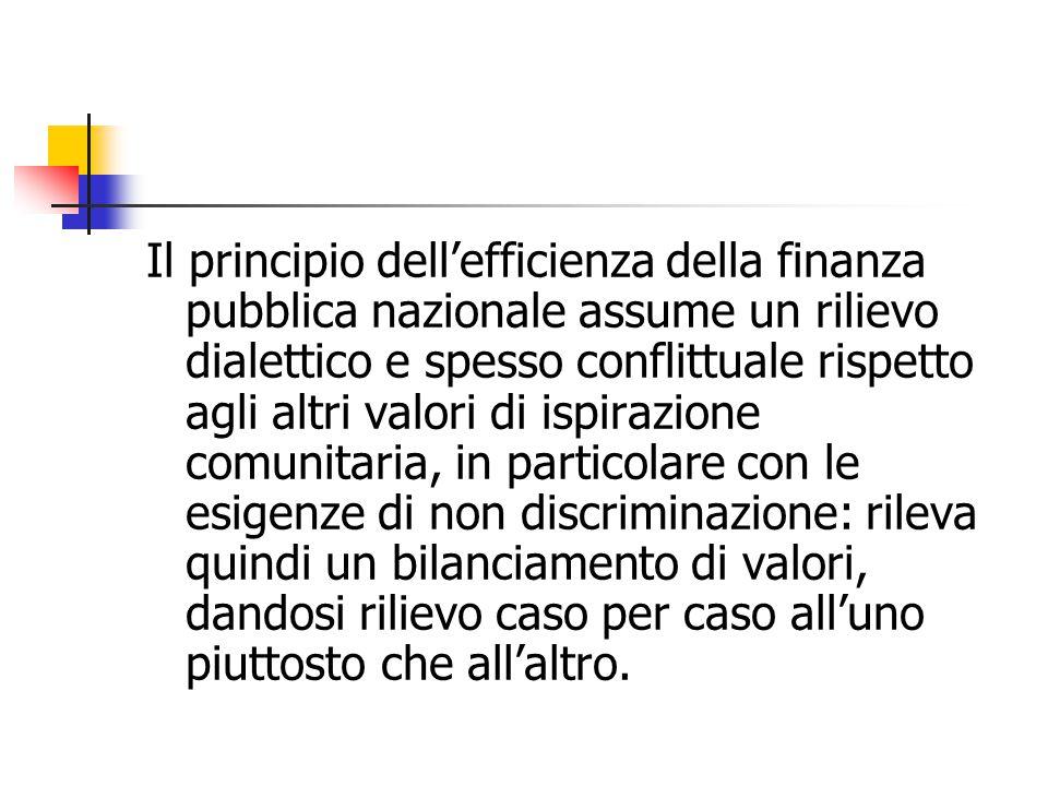 Il principio dell'efficienza della finanza pubblica nazionale assume un rilievo dialettico e spesso conflittuale rispetto agli altri valori di ispiraz