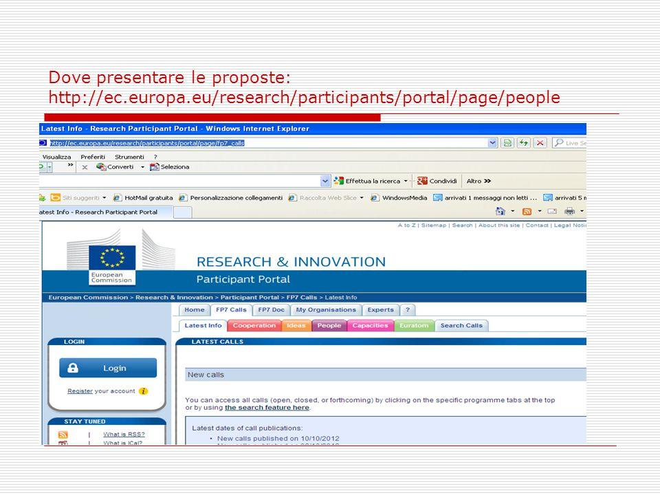 Dove presentare le proposte: http://ec.europa.eu/research/participants/portal/page/people