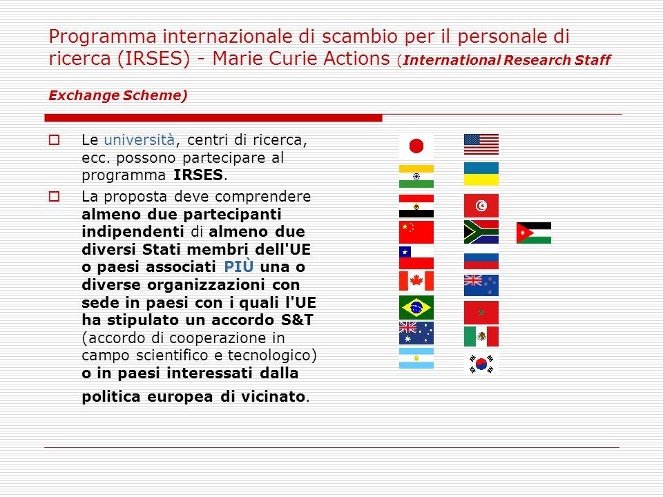 Programma internazionale di scambio per il personale di ricerca (IRSES) - Marie Curie Actions (International Research Staff Exchange Scheme)  Le università, centri di ricerca, ecc.