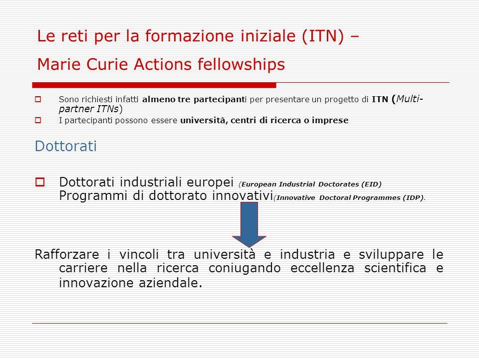 Marie Curie Actions fellowships - Dottorati  Dottorati industriali europei (EID) Due partecipanti: uno proveniente dalla realtà accademica, l altro dal settore privato.