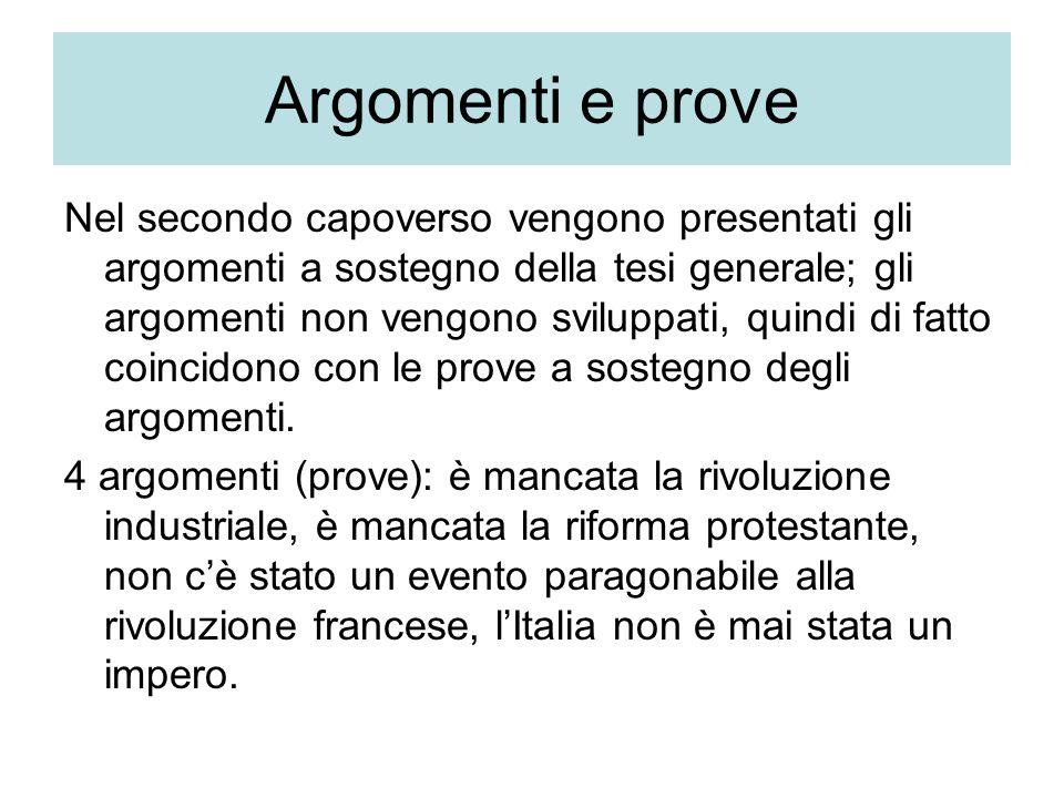 Argomenti e prove Nel secondo capoverso vengono presentati gli argomenti a sostegno della tesi generale; gli argomenti non vengono sviluppati, quindi