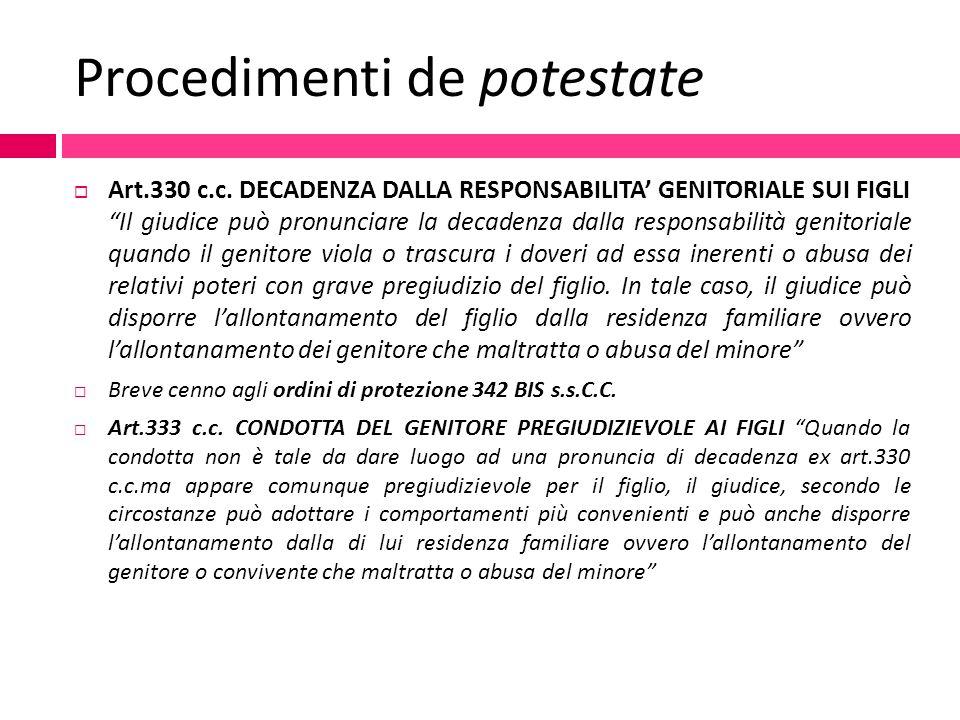 """Procedimenti de potestate  Art.330 c.c. DECADENZA DALLA RESPONSABILITA' GENITORIALE SUI FIGLI """"Il giudice può pronunciare la decadenza dalla responsa"""