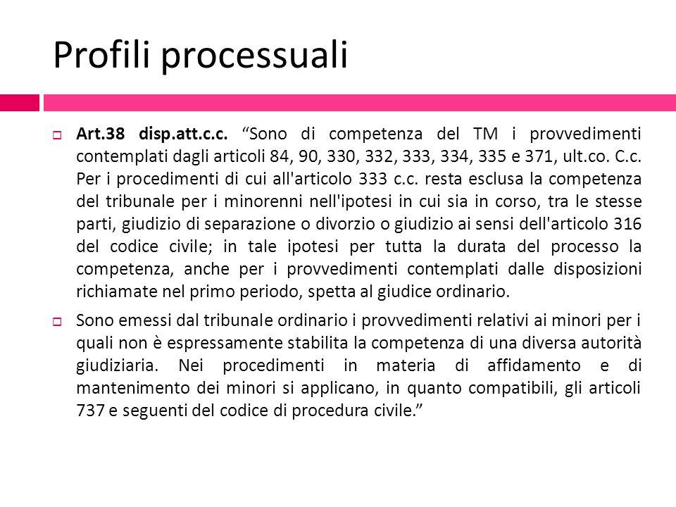 """Profili processuali  Art.38 disp.att.c.c. """"Sono di competenza del TM i provvedimenti contemplati dagli articoli 84, 90, 330, 332, 333, 334, 335 e 371"""