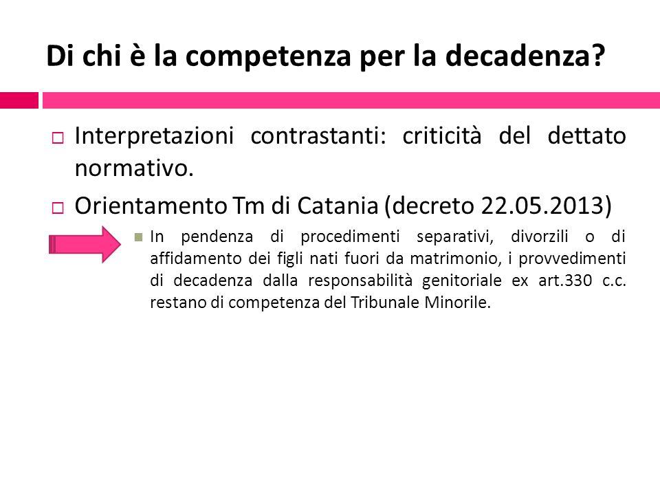 Di chi è la competenza per la decadenza?  Interpretazioni contrastanti: criticità del dettato normativo.  Orientamento Tm di Catania (decreto 22.05.