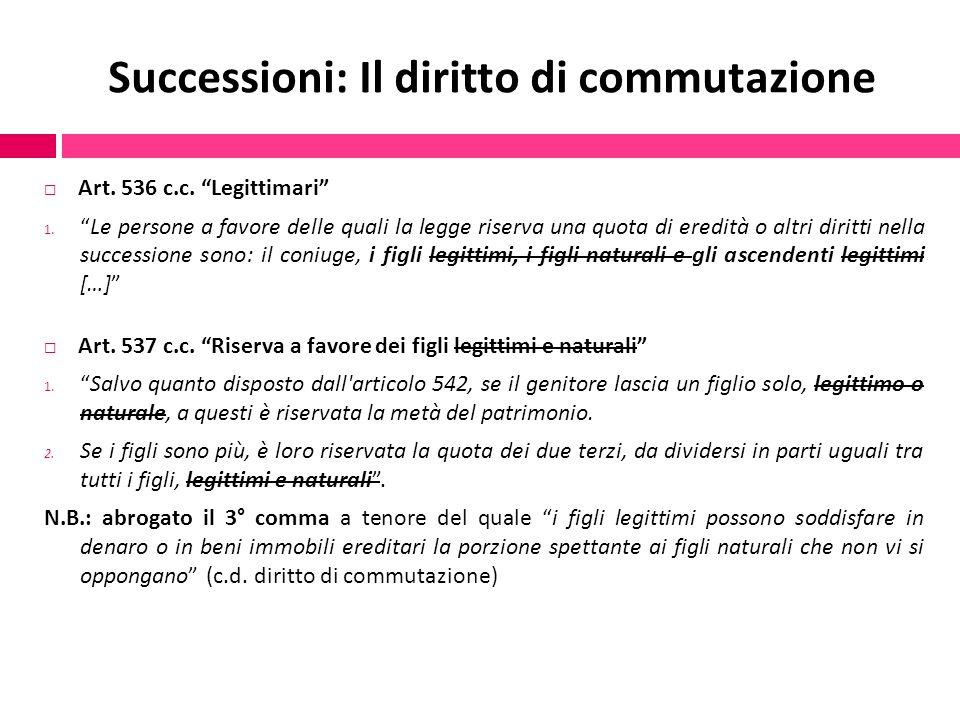 """Successioni: Il diritto di commutazione  Art. 536 c.c. """"Legittimari"""" 1. """"Le persone a favore delle quali la legge riserva una quota di eredità o altr"""