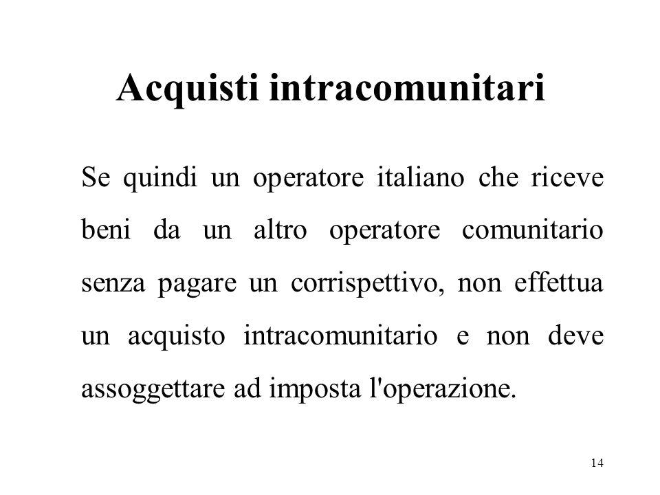 Acquisti intracomunitari Se quindi un operatore italiano che riceve beni da un altro operatore comunitario senza pagare un corrispettivo, non effettua un acquisto intracomunitario e non deve assoggettare ad imposta l operazione.
