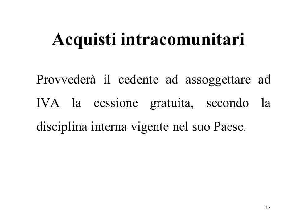 Acquisti intracomunitari Provvederà il cedente ad assoggettare ad IVA la cessione gratuita, secondo la disciplina interna vigente nel suo Paese. 15