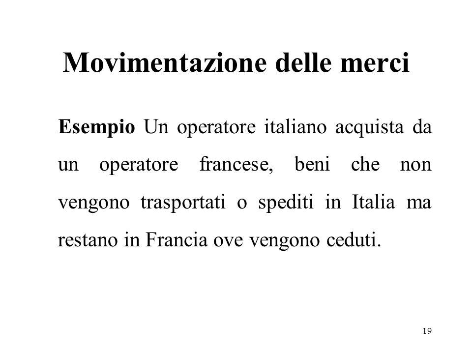 Movimentazione delle merci Esempio Un operatore italiano acquista da un operatore francese, beni che non vengono trasportati o spediti in Italia ma restano in Francia ove vengono ceduti.