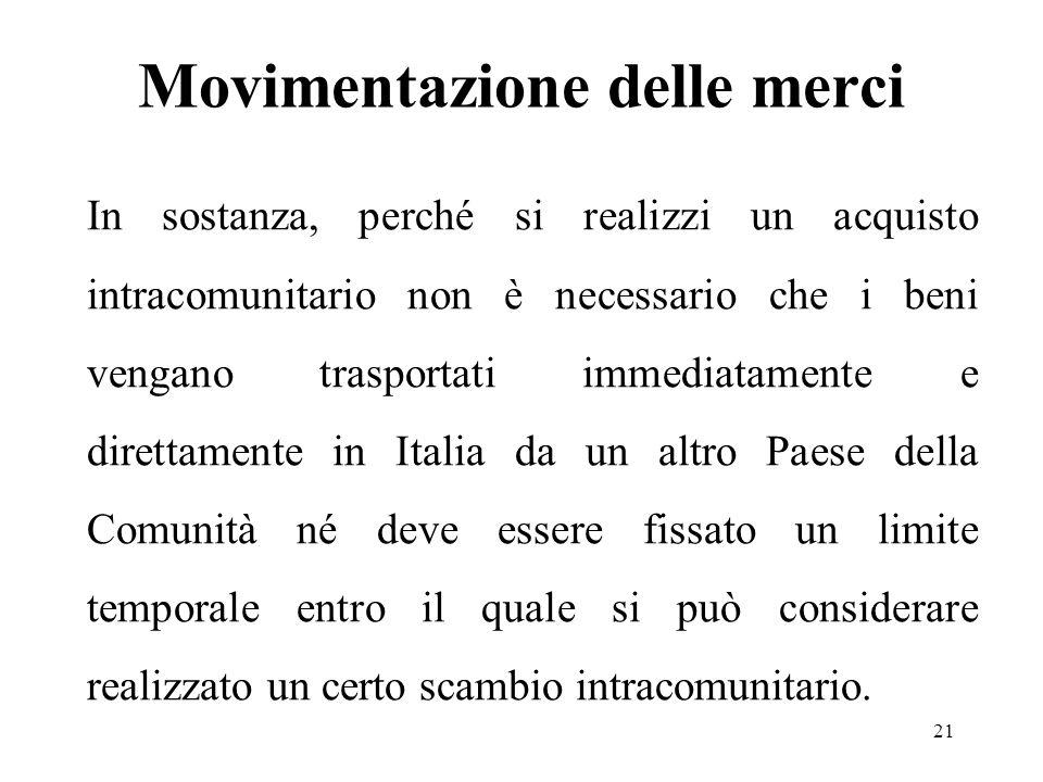 Movimentazione delle merci In sostanza, perché si realizzi un acquisto intracomunitario non è necessario che i beni vengano trasportati immediatamente