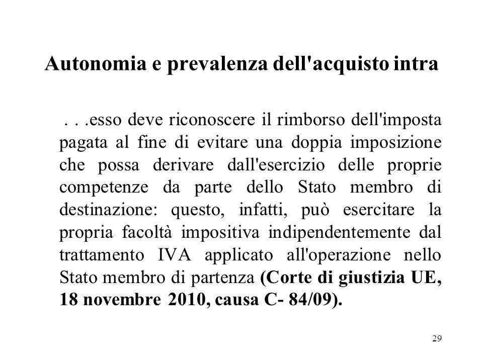 Autonomia e prevalenza dell'acquisto intra...esso deve riconoscere il rimborso dell'imposta pagata al fine di evitare una doppia imposizione che possa