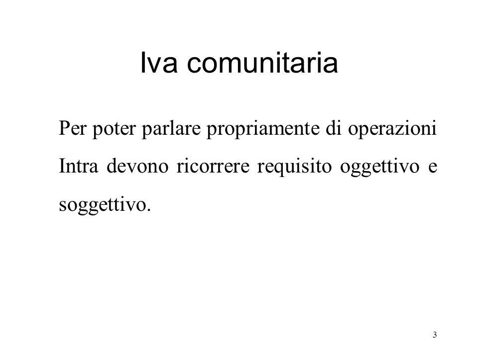 Iva comunitaria Per poter parlare propriamente di operazioni Intra devono ricorrere requisito oggettivo e soggettivo. 3