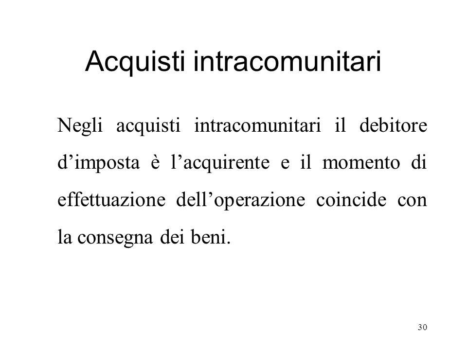 Acquisti intracomunitari Negli acquisti intracomunitari il debitore d'imposta è l'acquirente e il momento di effettuazione dell'operazione coincide co