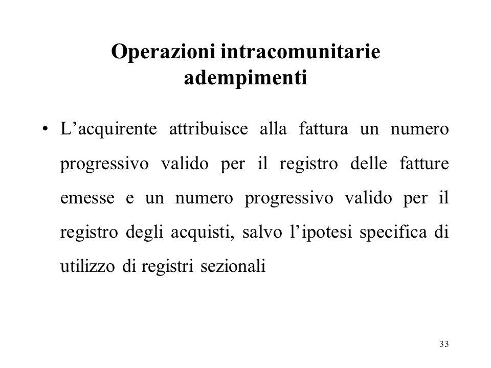 Operazioni intracomunitarie adempimenti L'acquirente attribuisce alla fattura un numero progressivo valido per il registro delle fatture emesse e un n