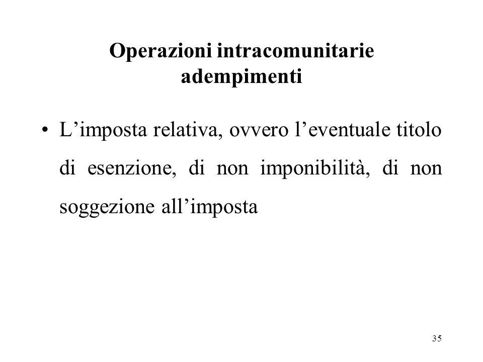 Operazioni intracomunitarie adempimenti L'imposta relativa, ovvero l'eventuale titolo di esenzione, di non imponibilità, di non soggezione all'imposta 35