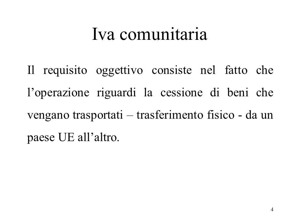 Iva comunitaria Il requisito oggettivo consiste nel fatto che l'operazione riguardi la cessione di beni che vengano trasportati – trasferimento fisico - da un paese UE all'altro.