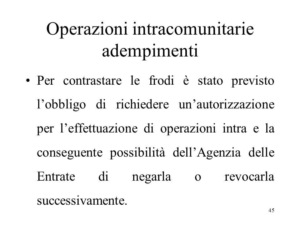 Operazioni intracomunitarie adempimenti Per contrastare le frodi è stato previsto l'obbligo di richiedere un'autorizzazione per l'effettuazione di operazioni intra e la conseguente possibilità dell'Agenzia delle Entrate di negarla o revocarla successivamente.
