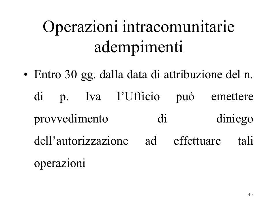 Operazioni intracomunitarie adempimenti Entro 30 gg. dalla data di attribuzione del n. di p. Iva l'Ufficio può emettere provvedimento di diniego dell'