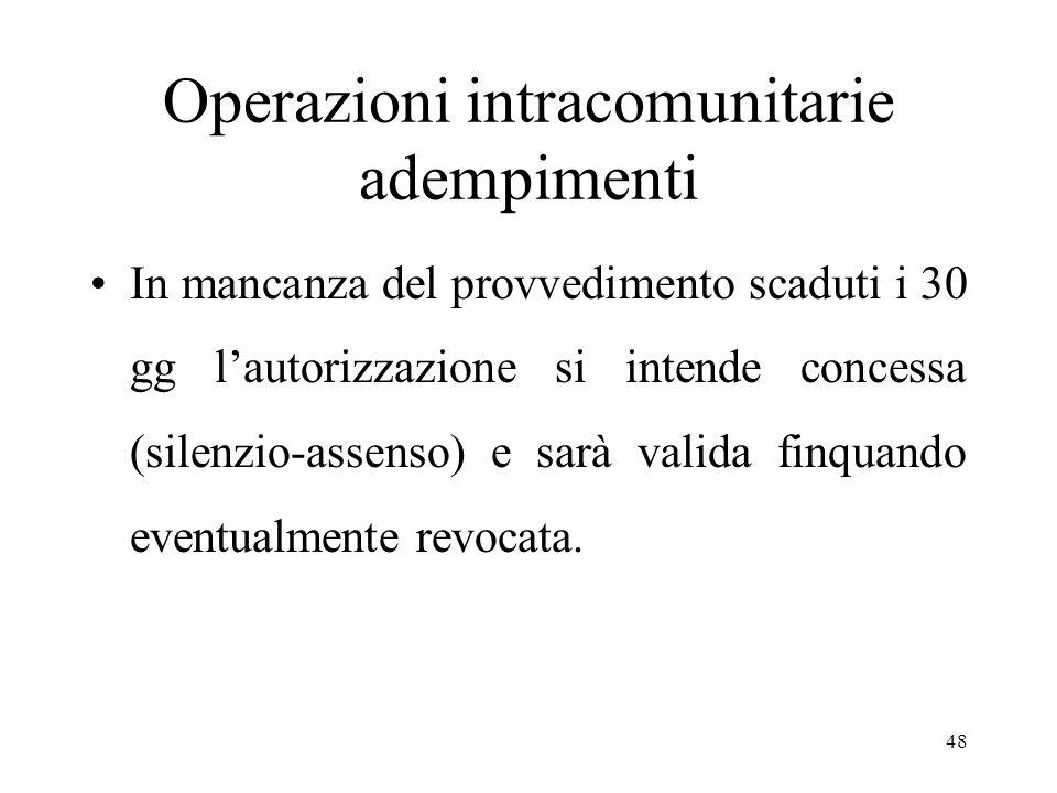 Operazioni intracomunitarie adempimenti In mancanza del provvedimento scaduti i 30 gg l'autorizzazione si intende concessa (silenzio-assenso) e sarà valida finquando eventualmente revocata.