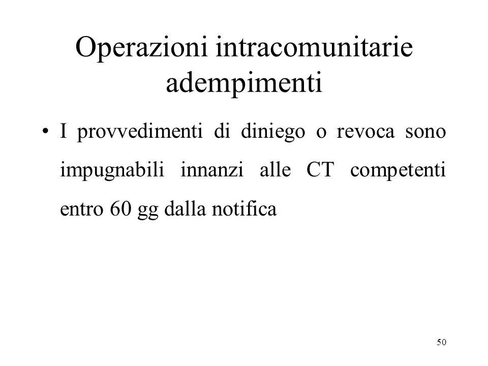 Operazioni intracomunitarie adempimenti I provvedimenti di diniego o revoca sono impugnabili innanzi alle CT competenti entro 60 gg dalla notifica 50