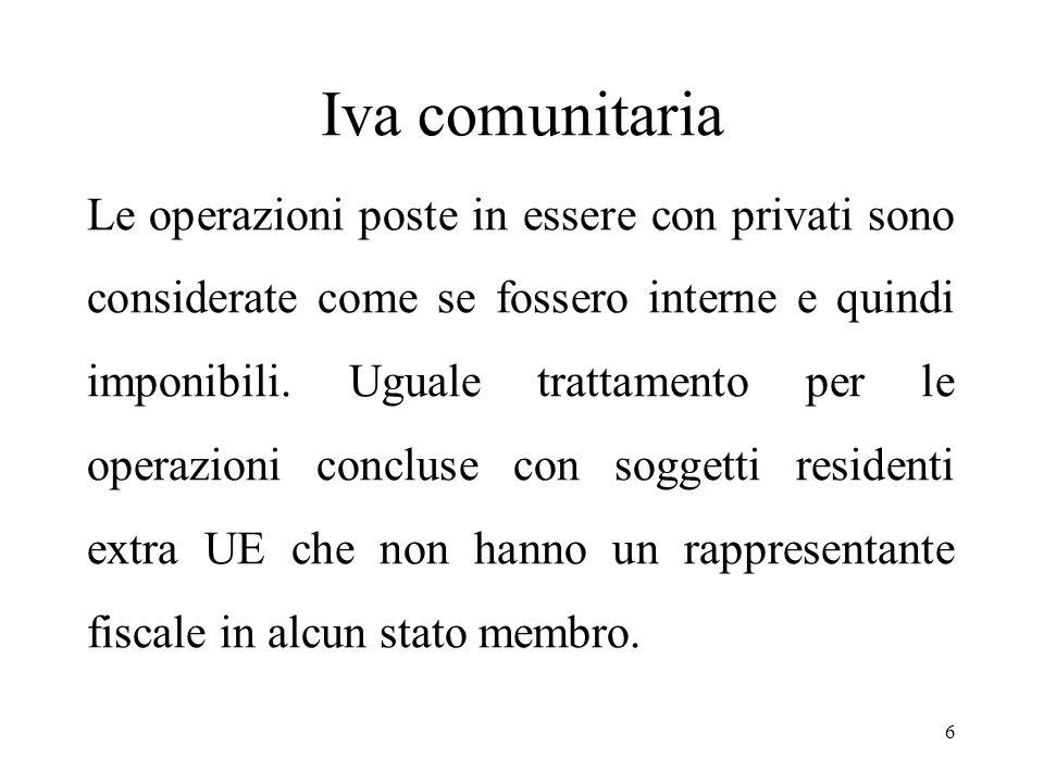Iva comunitaria Le operazioni poste in essere con privati sono considerate come se fossero interne e quindi imponibili.