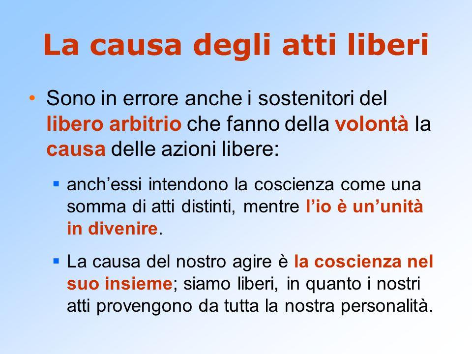 La causa degli atti liberi Sono in errore anche i sostenitori del libero arbitrio che fanno della volontà la causa delle azioni libere:  anch'essi in