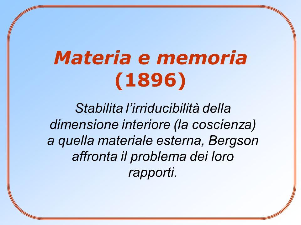 Stabilita l'irriducibilità della dimensione interiore (la coscienza) a quella materiale esterna, Bergson affronta il problema dei loro rapporti. Mater
