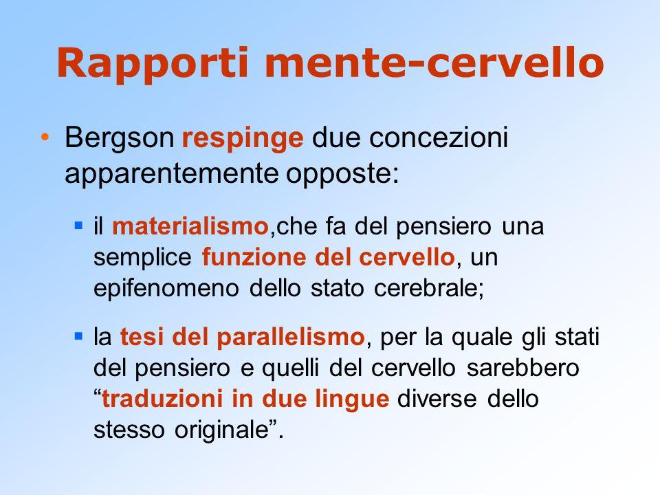 Rapporti mente-cervello Bergson respinge due concezioni apparentemente opposte:  il materialismo,che fa del pensiero una semplice funzione del cervel
