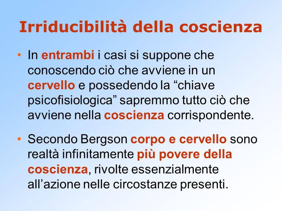 """Irriducibilità della coscienza In entrambi i casi si suppone che conoscendo ciò che avviene in un cervello e possedendo la """"chiave psicofisiologica"""" s"""