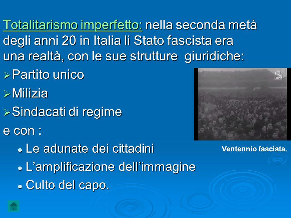 Totalitarismo imperfetto: nella seconda metà degli anni 20 in Italia li Stato fascista era una realtà, con le sue strutture giuridiche:  Partito unic