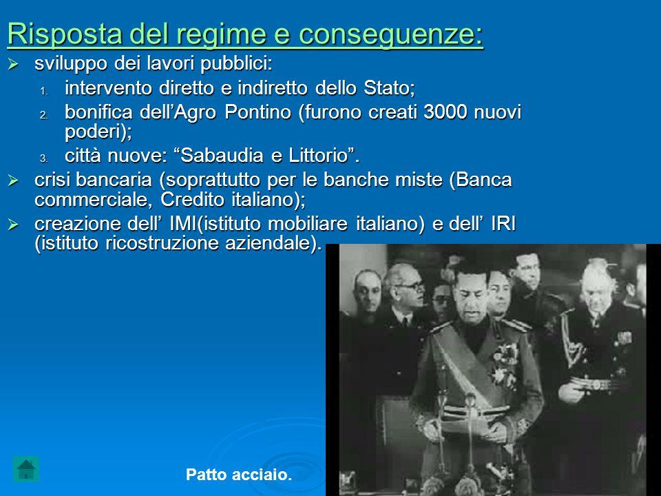 Risposta del regime e conseguenze:  sviluppo dei lavori pubblici: 1. intervento diretto e indiretto dello Stato; 2. bonifica dell'Agro Pontino (furon