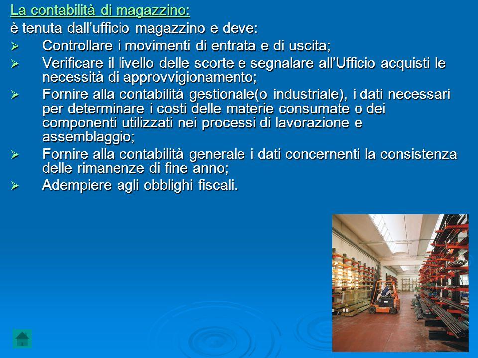La contabilità di magazzino: è tenuta dall'ufficio magazzino e deve:  Controllare i movimenti di entrata e di uscita;  Verificare il livello delle s