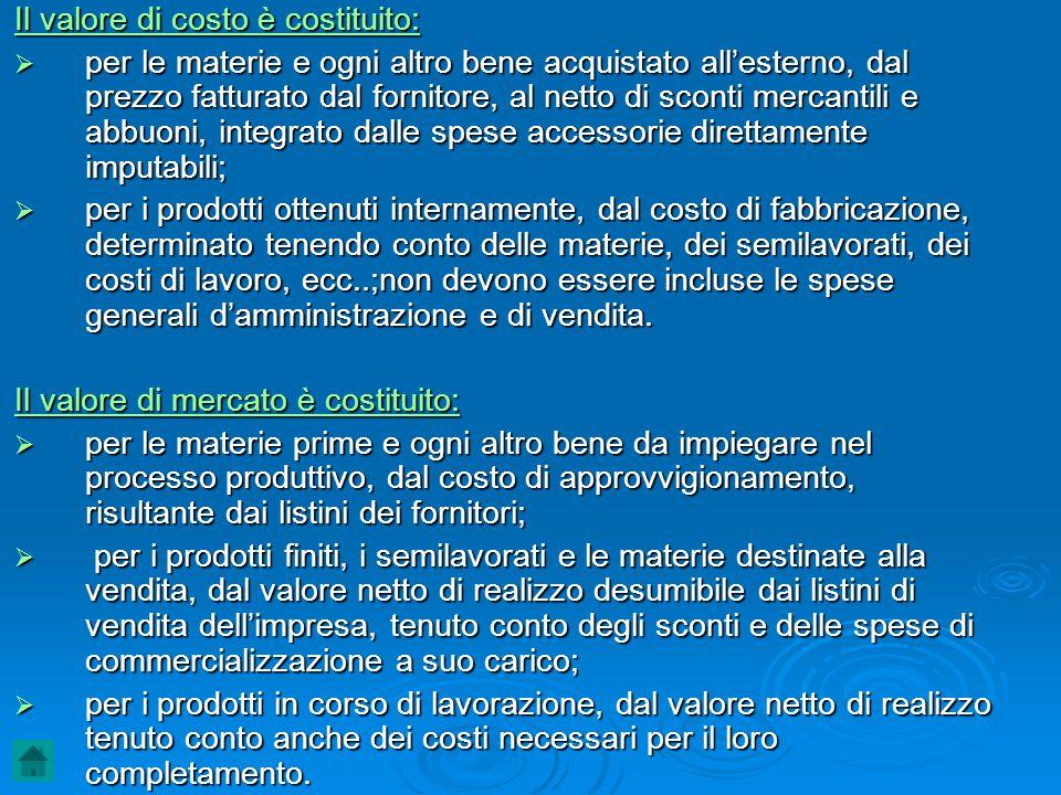 Il valore di costo è costituito:  per le materie e ogni altro bene acquistato all'esterno, dal prezzo fatturato dal fornitore, al netto di sconti mer