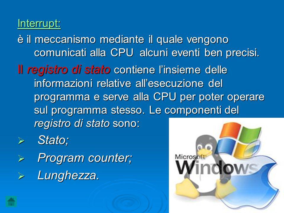 Interrupt: è il meccanismo mediante il quale vengono comunicati alla CPU alcuni eventi ben precisi. Il registro di stato contiene l'insieme delle info