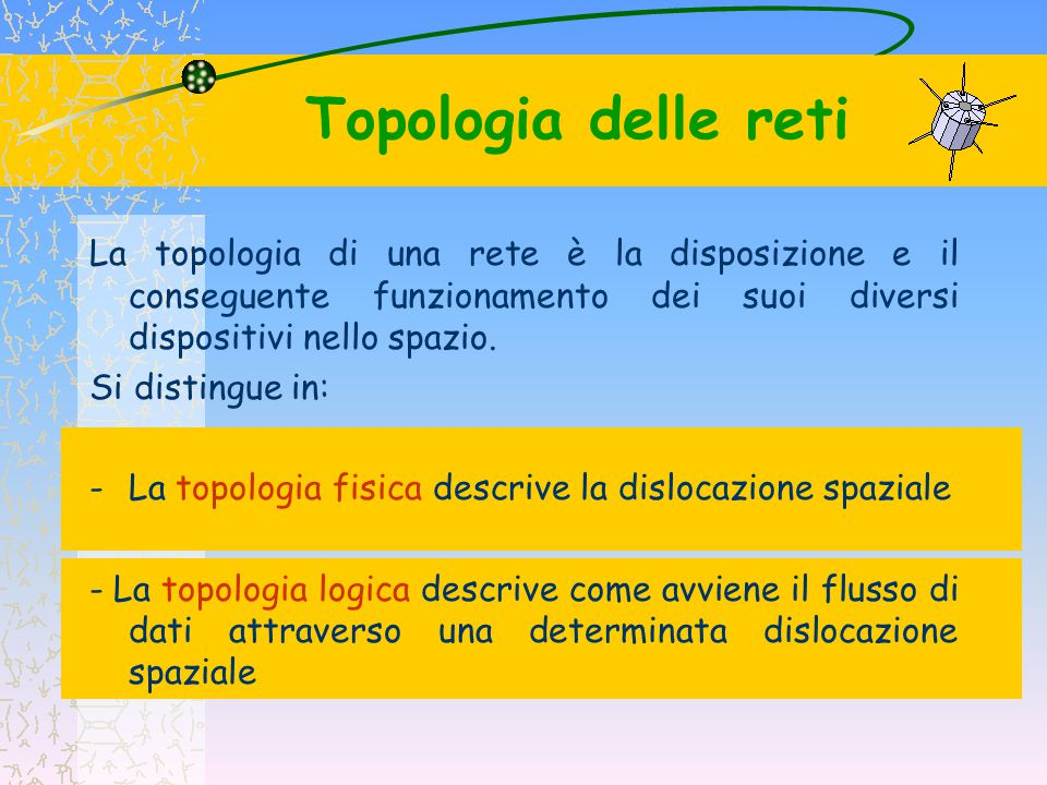Topologia delle reti La topologia di una rete è la disposizione e il conseguente funzionamento dei suoi diversi dispositivi nello spazio. Si distingue