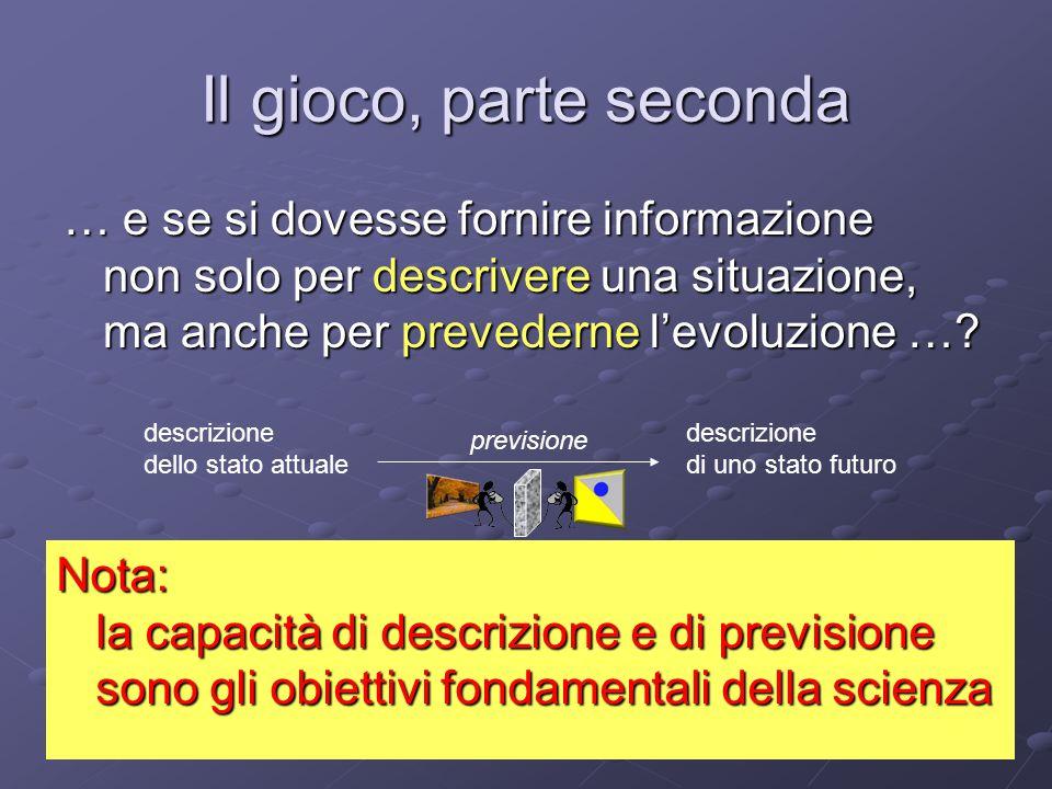 Il gioco, parte seconda … e se si dovesse fornire informazione non solo per descrivere una situazione, ma anche per prevederne l'evoluzione ….
