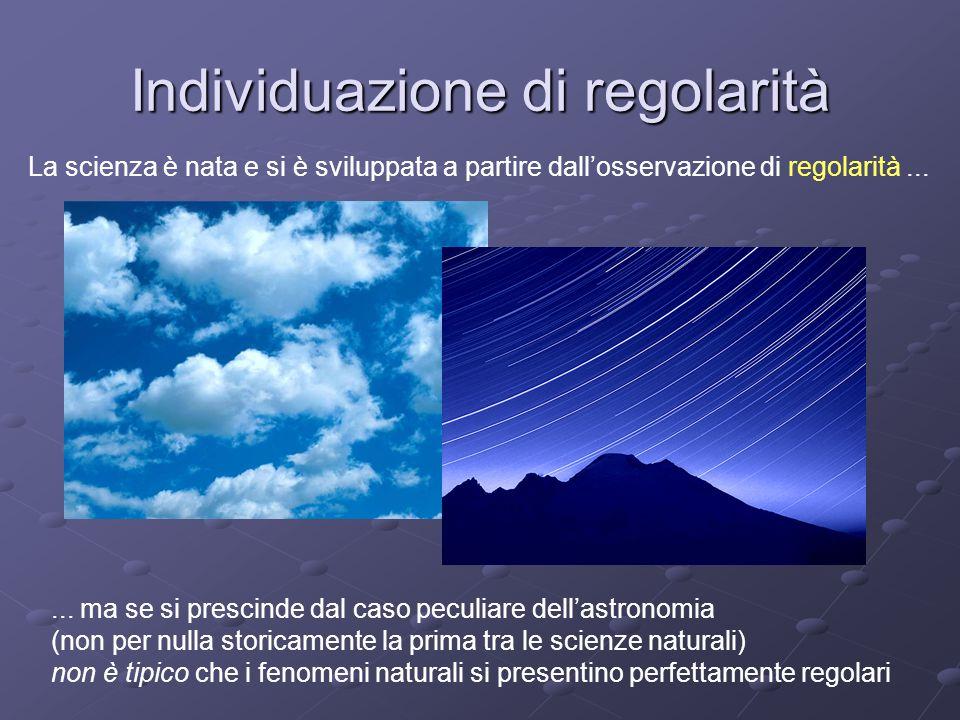 Individuazione di regolarità La scienza è nata e si è sviluppata a partire dall'osservazione di regolarità......