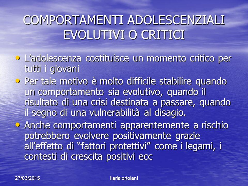 27/03/2015Ilaria ortolani COMPORTAMENTI ADOLESCENZIALI EVOLUTIVI O CRITICI L'adolescenza costituisce un momento critico per tutti i giovani L'adolesce