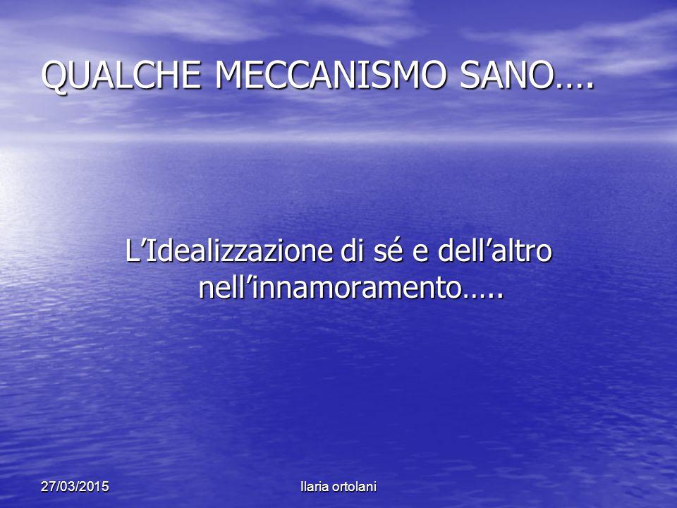 27/03/2015Ilaria ortolani QUALCHE MECCANISMO SANO…. L'Idealizzazione di sé e dell'altro nell'innamoramento…..
