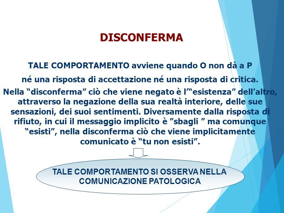 TALE COMPORTAMENTO avviene quando O non dà a P né una risposta di accettazione né una risposta di critica.